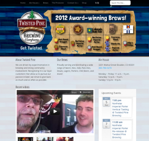 Website design for Twisted Pine Brewery